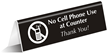No Cell Phone Use At Counter Engraved Sign