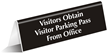 Visitors Obtain Visitor Parking Pass Sign
