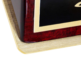 Brass nameplate is the perfect complement to this wood base.